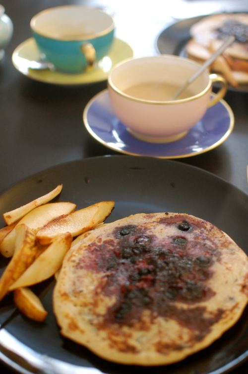 blueberry pancakes and fried pears