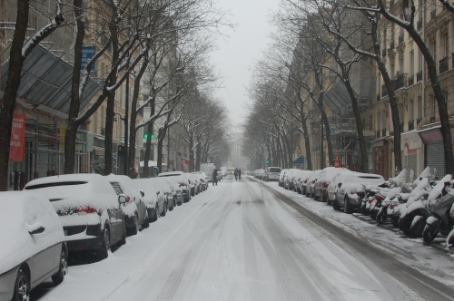 Street blanketed in snow