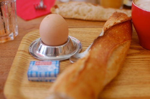 Boiled egg and baguette
