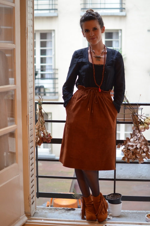 Les petites leather skirt and silk blouse