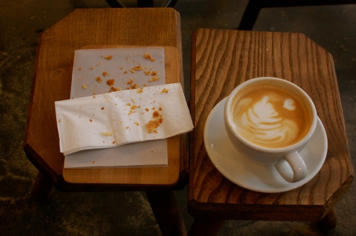 Latté and late croissant (was so good I practically inhaled it!)
